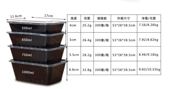 Disposable Plastic Food Container with Lid of Takeway Food/ Microwave Oven on Ce pictures & photos