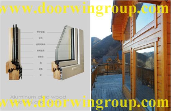 Solid Oak Wood Aluminum Casement Windows for Wooden House