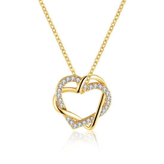 eb462edb40c2aa Hot Sale Fashion Jewelry 18k Heart Pendant Diamond Necklace Rose Gold and  Gold Necklace