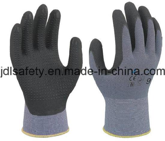 Nylon Work Glove with Superfine Foam Nitrile Dipping (N1567)