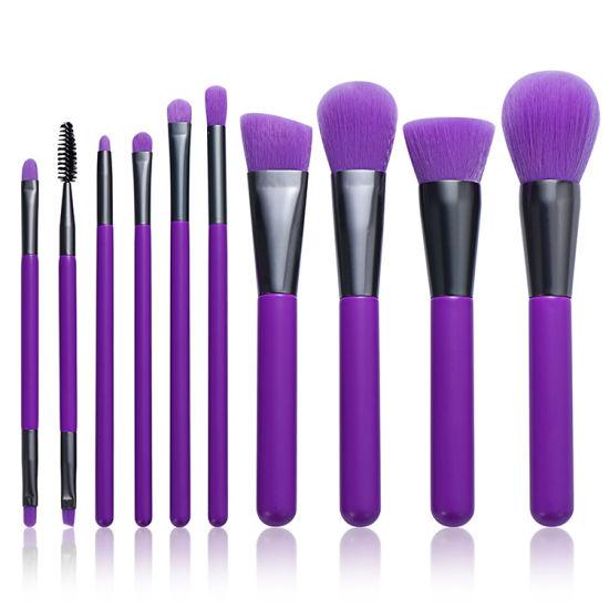 Wholesale Professional OEM/ODM Purple 10PCS Makeup Brush Set Collection Foundation Powder Brush Beauty Products