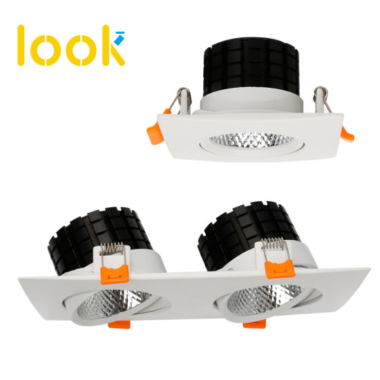 Distributor 2*7W 2*12W Double Head LED Ceiling Light Grille Downlight Adjustable Type
