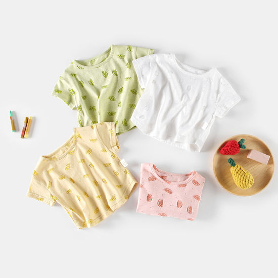 Children Short-Sleeved T-Shirt Solid Color Infant Clothing Baby Clothes