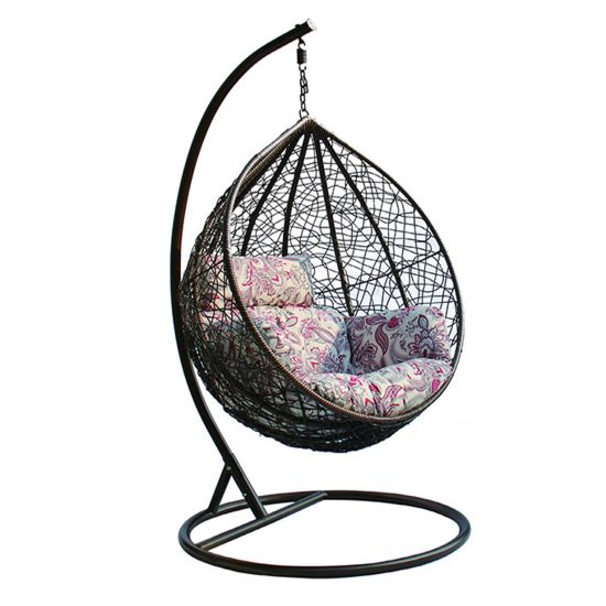 Luxury Indoor/ Patio Garden Rattan Egg Shaped One Person Seat Hanging Swing Chair with Cushion