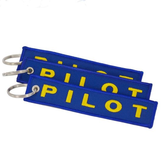 Remove Before Flight Knitted Personalized Logo Polyester/Nylon Key Hanger, Twill Fabric Airplane Jet Crew Pilot Custom Woven/Embroidery/Embroidered Key Chain pictures & photos