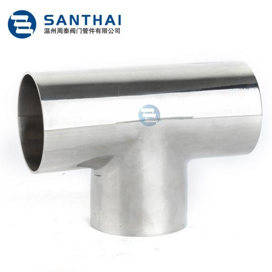 "3-Way Sanitary Stainless Steel Equal Short Tee Weld End 2/"" 304"