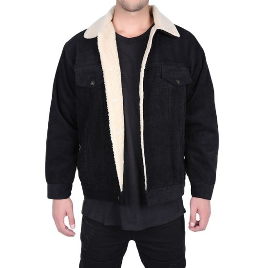 Fashion Style Black Wool Lined Mens Corduroy Jacket