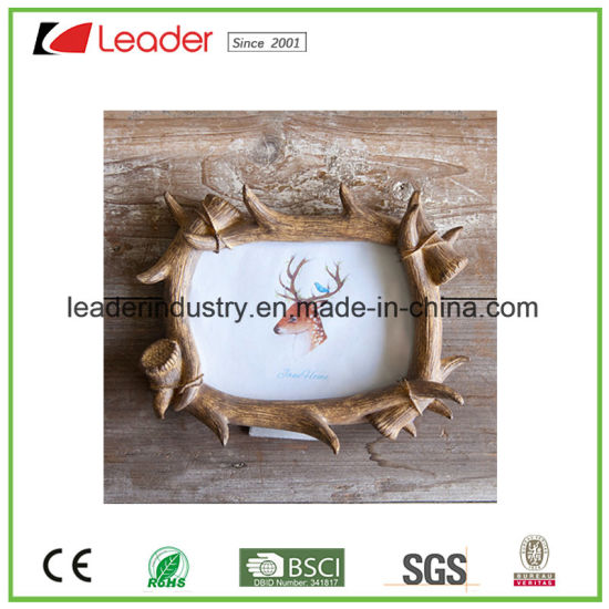 China Hand Painted Resin Antlers Photo Frames for Home Decoration ...