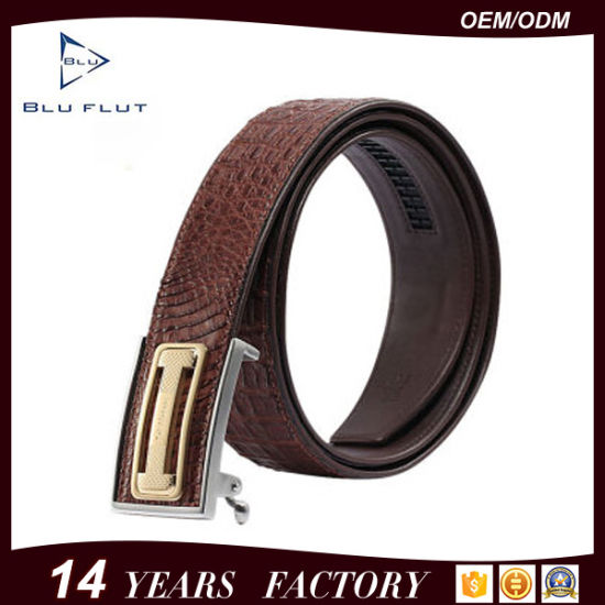 Factory Wholesale Fashion Genuine Crocodile Leather Ratchet Man Belt