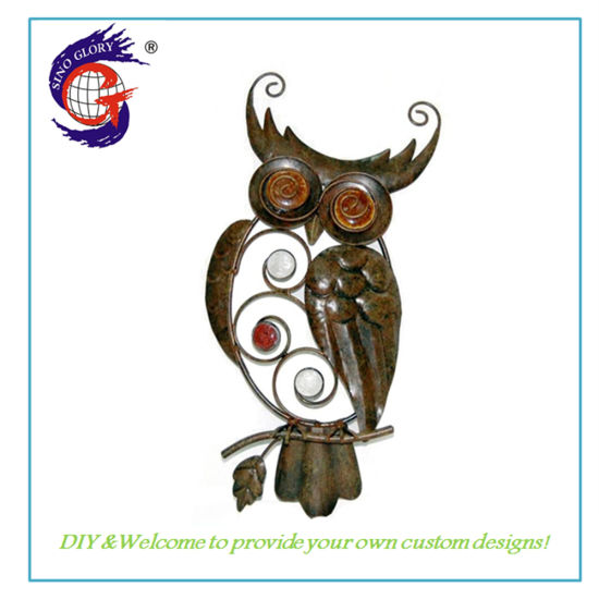 Home Decor Hand Painted Metal Owl Wall Hanging Wall Art