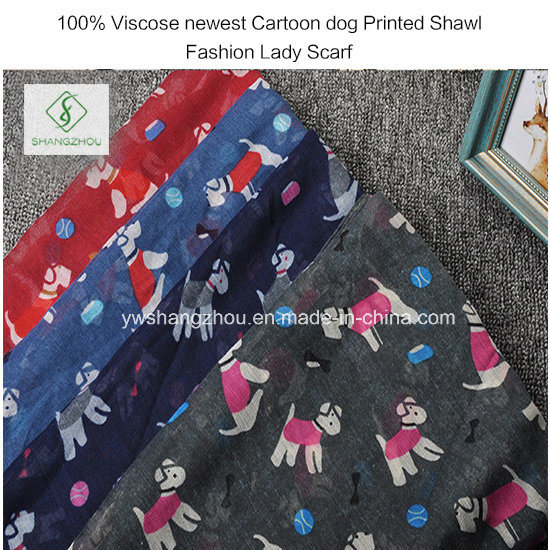 100% Viscose Newest Cartoon Dog Printed Shawl Fashion Lady Scarf pictures & photos