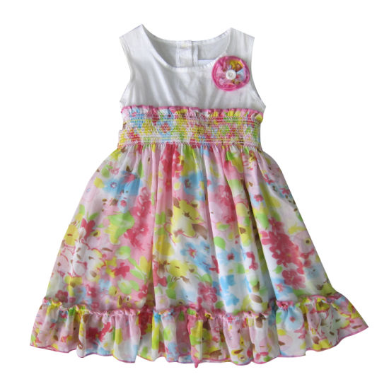 Hot Sale Fashion Children Clothes Girl Dress Allover Flower Print pictures & photos