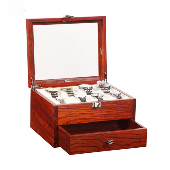 Custom Solid Wood High Glossy with Sliding Drawer Jewelry Watch Display Storage Packaging Box