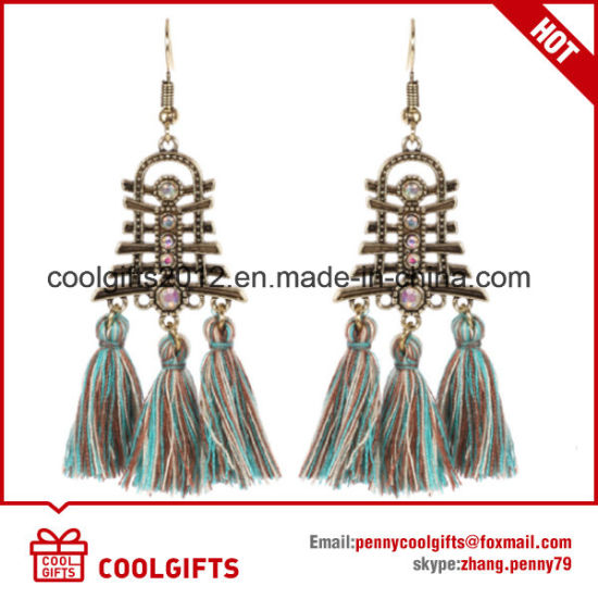 Ladies Colorful Retro Jewelry Hollow Crystal Tassels Earrings pictures & photos