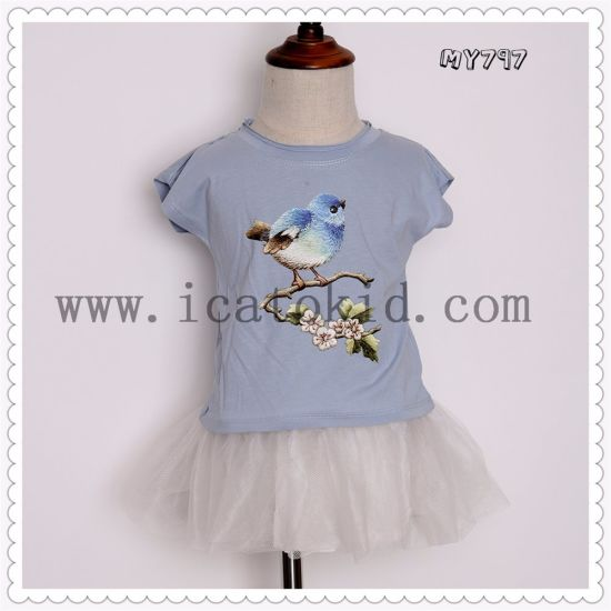 2017 New Baby Kids Girls Tshirt Child Clothing Childrens Tops Summer Clothes Short Sleeve Tee Blouse Shirts pictures & photos