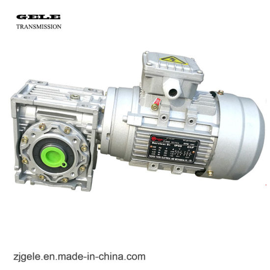 Silver Color Nmrv Series Worm Gearbox with Motor High Performance