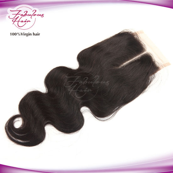 8A Peruvian Body Wavy Natural Lace Closure Human Hair pictures & photos