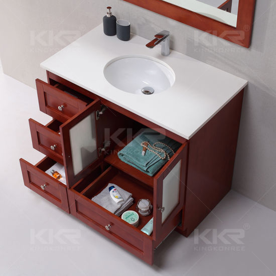 China Hot Sale Resin Stone Bathroom Wash Basin With Cabinet China