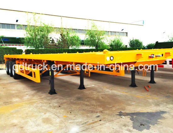 3 Axle Platform Flatbed Container Transport Truck Trailers pictures & photos