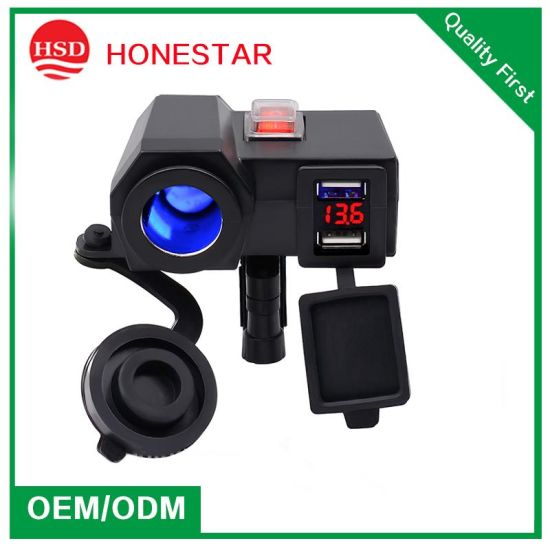 with on/off Switch Motorcycle Cigarette Lighter Socket and Voltmeter Display Dual USB Charger pictures & photos