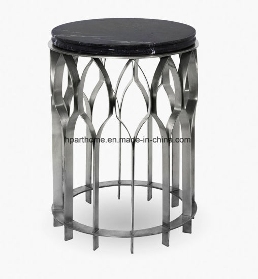 201 Silver Stainless Steel Marble Furniture Coffee Side Table