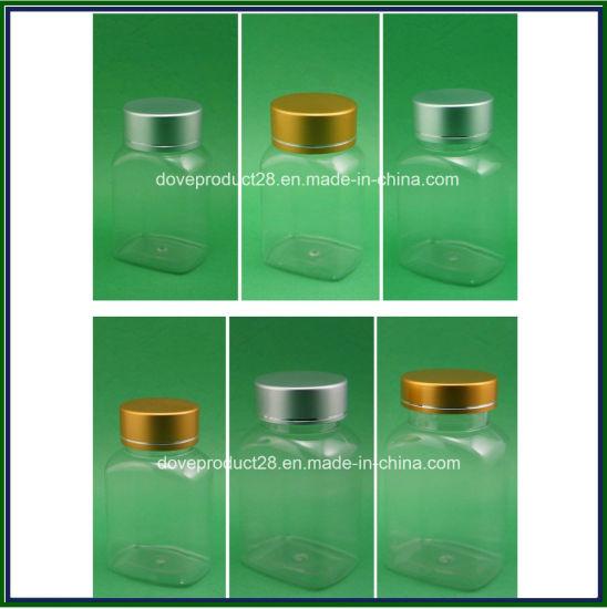 Pet Clear Rectangular Medicine Plastic Bottle with Gold/Silver Metal Cap