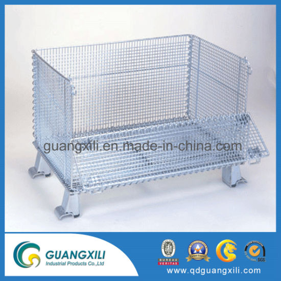 Popular Foldable environmental Coated Collapsible Stacking Warehouse Storage Cage