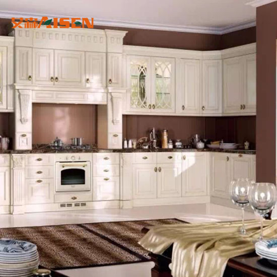 China Rustic Country Style White Solid Wood Kitchen Cabinet Design China Solid Wood Kitchen Cabinet Rustic Kitchen Cabinet