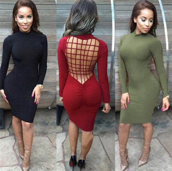 China Women Plus Size Long Sleeve Black Bandage Dress Dress 140