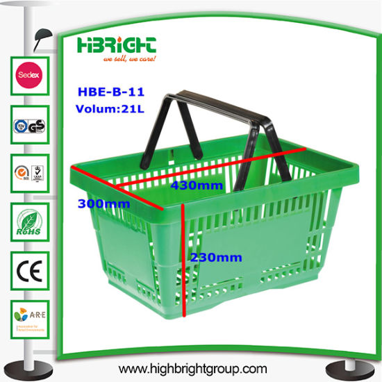 Plastic Shopping Basket with Two Handles pictures & photos
