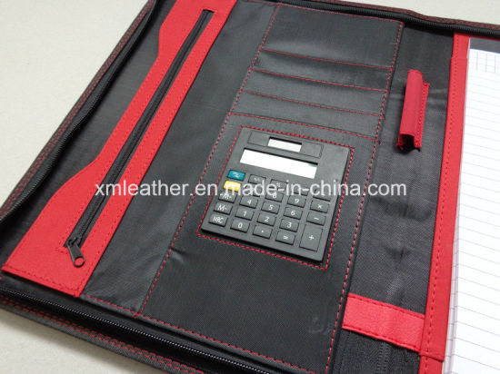Business Leather Cover Pocket File Folders with Zip Closure pictures & photos