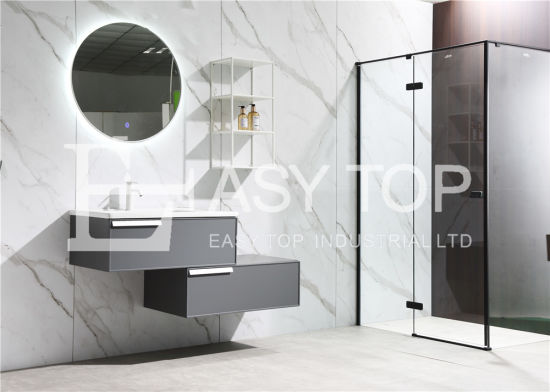 in Stock Russia Antique Smart Grey Wall Mount One Sink Bathroom Washbasin Cabinet