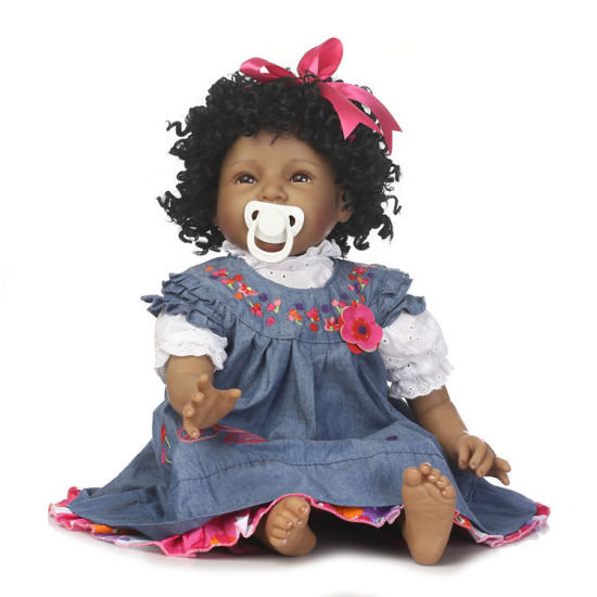 Factory Price Top Sales Vinyi Reborn Dolls Soft Silicone 22inch African American Fashion Black Baby Doll for Girl Doll Manufacturer China pictures & photos