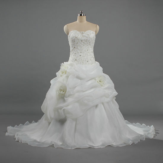 W393 New Design Strapless Flowers Organza Princess Wedding Dresses pictures & photos