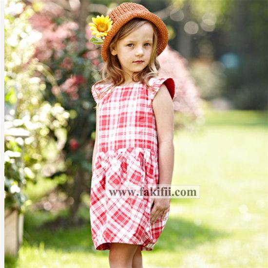 Premium Quality Cutomised Children Clothes Girl Cotton Plaid Dress