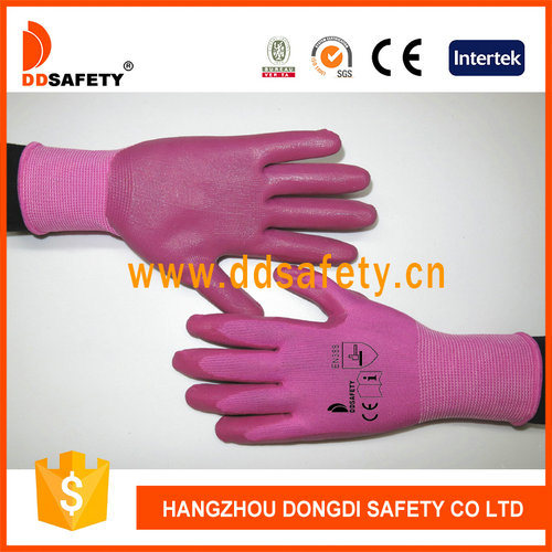 Pink Nitrile Palm Coated Protection Gloves