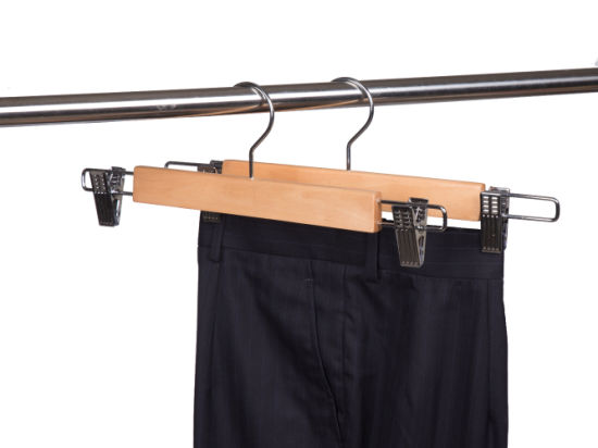 Wholesale High Quality Natural Wooden Hangers Trousers Pants Skirt