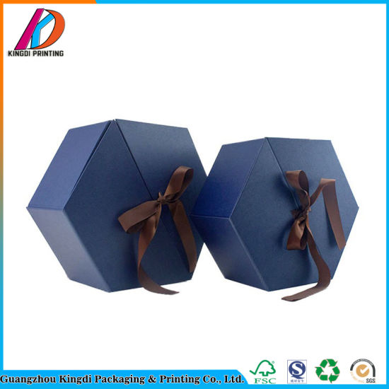 Double Door Blue Hexagonal Paper Flower Box with Ribbon pictures & photos