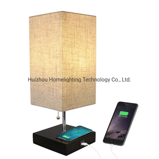 Jlt-57138c Home Bedroom Bedside Convenient Qi Wireless Charging Table Lamp with USB Charger Port