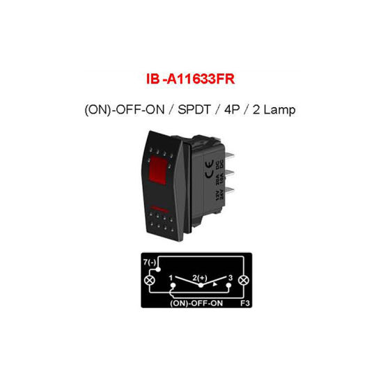 Spdt (ON) -off-on 4p 2 LED Lamp Illuminated 3 Position Rocker Switch