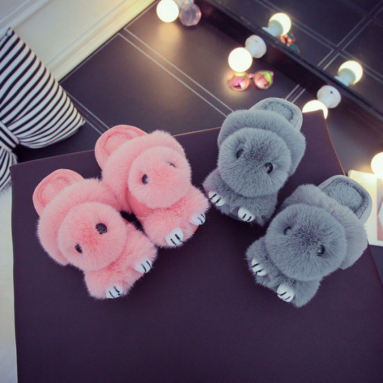 Animal Plush Soft Fluffy Winter Slippers for Whole Family