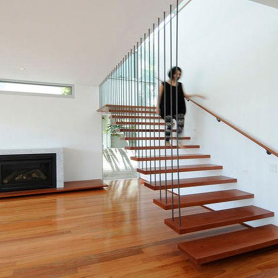 2019 New Arrival Indoor Modern Design Steel Wood Floating Stairs