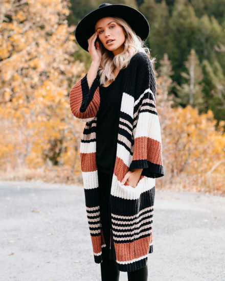 Striped Winter Clothescolor Blocking Cardigan Fashion Casual Sweater