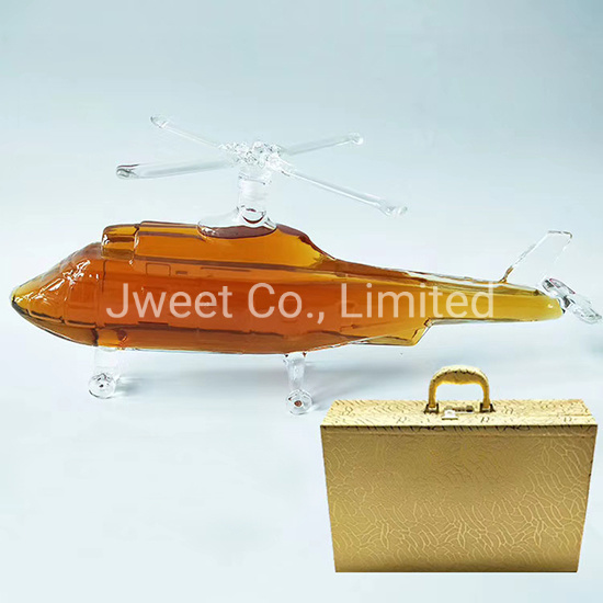 750ml Helicopter Shape High Borosilicate Glass Bottle for Whishy Wine