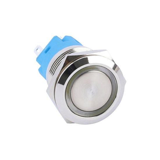12VDC 24VDC LED Illuminated Momentary Metal 19mm Reset Switch Push Button