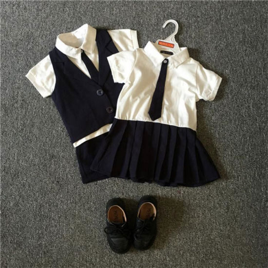 Custom Made Summer Cotton Breathable School Uniform with Children