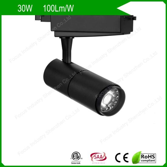 ETL/UL SAA 2/3/4 Wires Modern Black/White Anti Glare LED Track Light Spot for Shop/Retail Stores