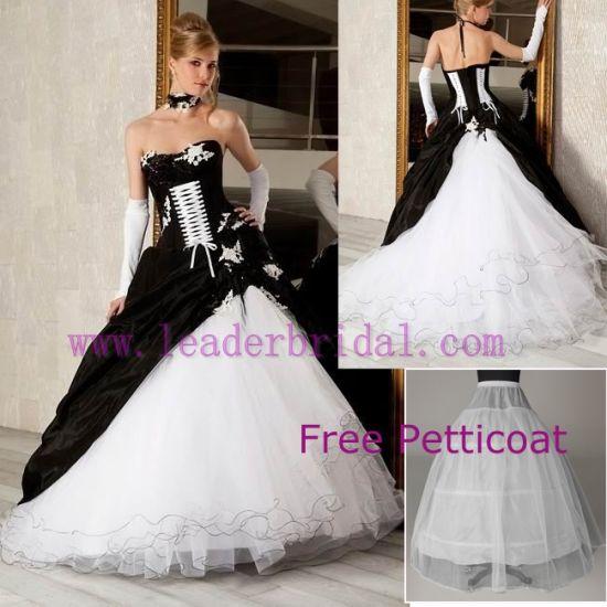 China Wedding Dress Gothic Strapless White Black Bridal Ball Gown