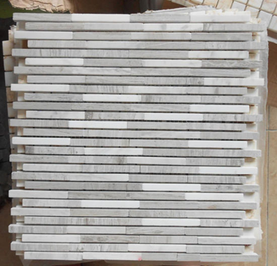 Grey Wood Grain Marble Bathroom Mosaic for Flooring Tiles pictures & photos