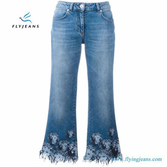 cddab509d19d4 China Lions Printed Blue Spandex Cropped Women Jeans Denim - China ...